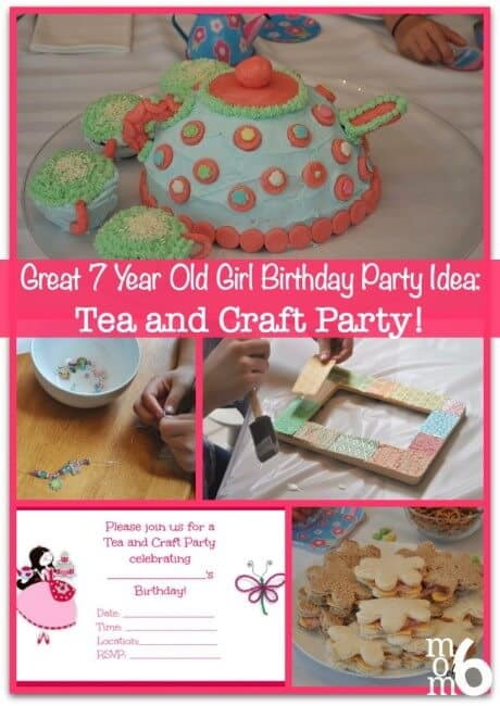 Fun ideas for a tea and craft themed birthday party! A perfect 7 year old girls birthday party idea!