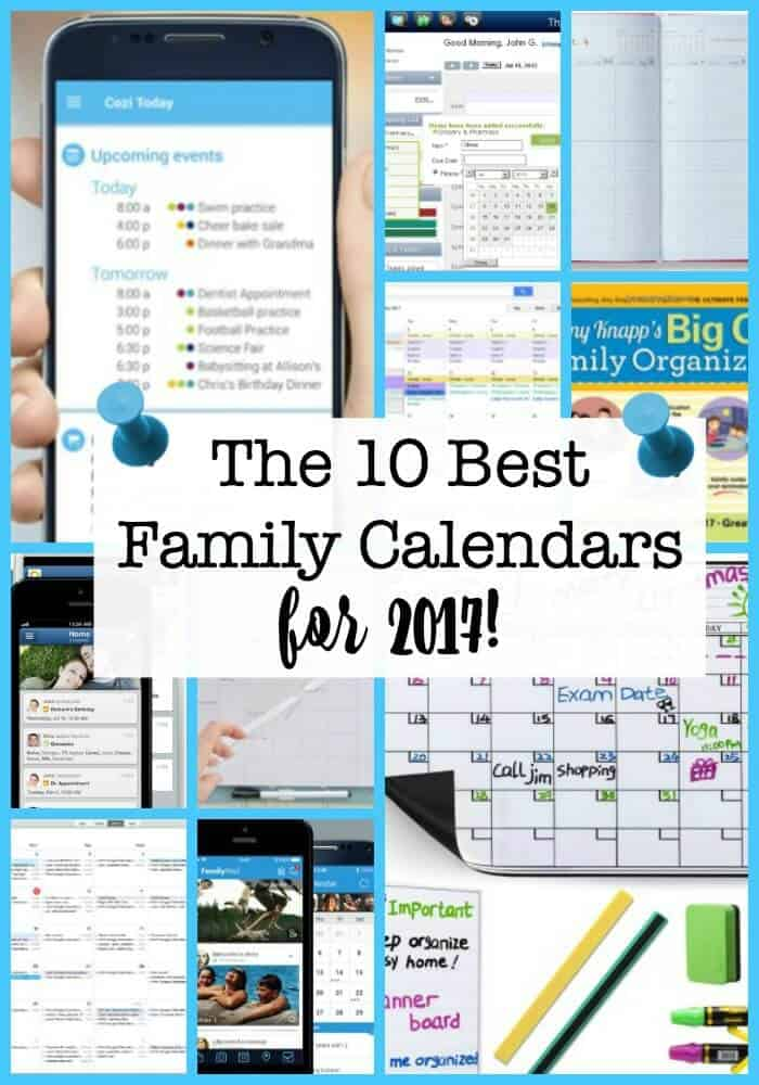 Busy Moms who want to get organized in 2017 need to have an awesome family calendar system in place- whether that's an electronic family calendar a wall calendar or a calendar you can carry in your handbag. Here are the 10 best family calendars for 2017! Find the one that's perfect for you!