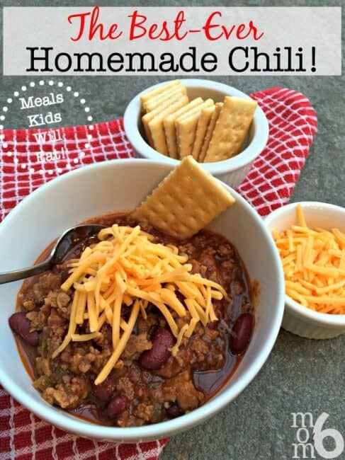 This best EVER homemade chili has a base of both ground beef and sausage- and I think that it is the combination of the two that makes it so yumma-licious!