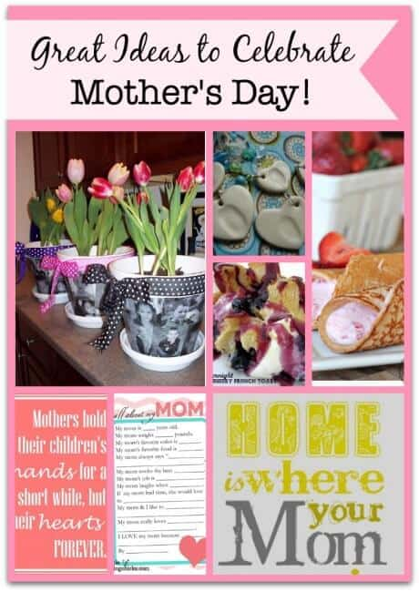 Here is a great collection of Mother's Day ideas and recipes that you could use (or print them and leave them out for your husband and the kids to use!) to celebrate this special day!