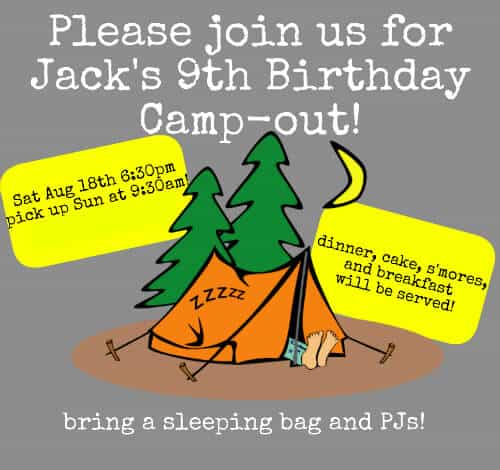 Great 9 Year Old Boy Birthday Party Idea: Backyard Campout Birthday Party Sleepover!