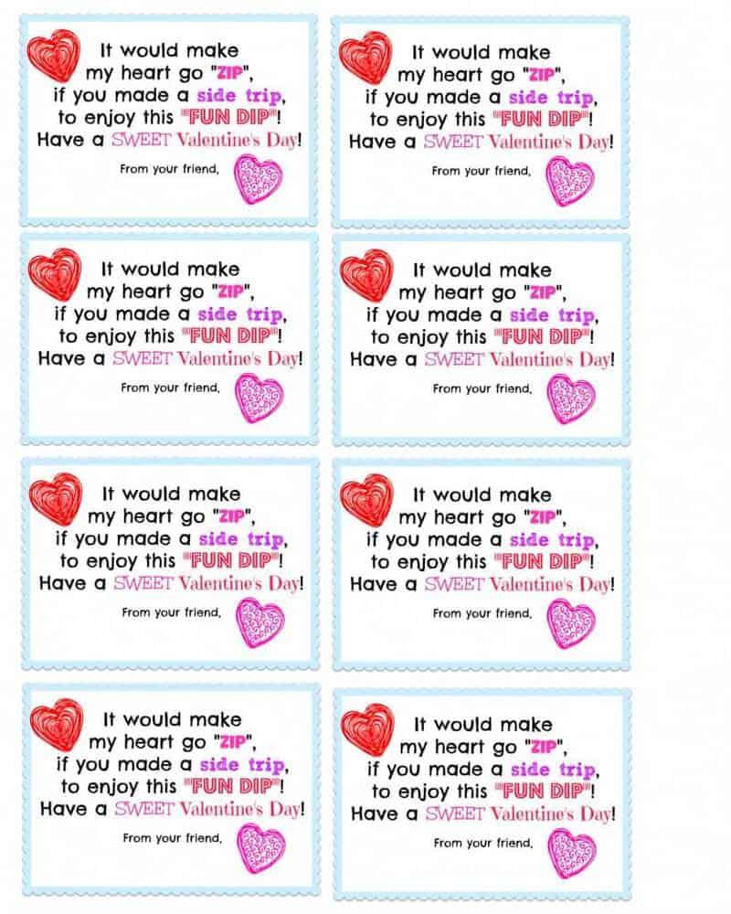 8 Valentine's Fun Dip Cards