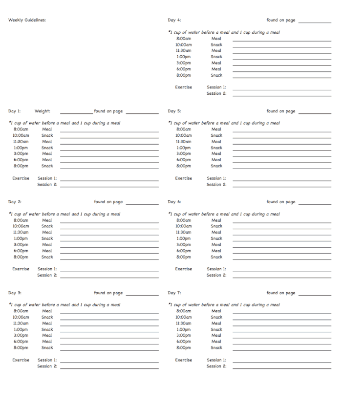 Shred Diet Planning Sheet