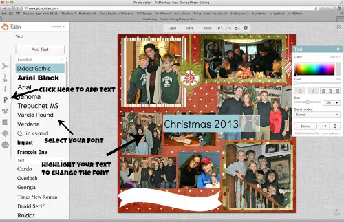 Adding text to scrapbook pages