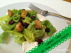 Great Summer Salad with Tangy Raspberry Vinaigrette, Dried Cherries, & Goat Cheese!