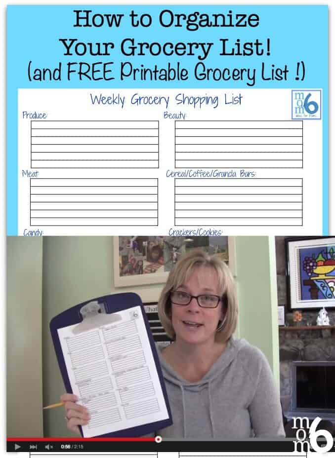 how to organize your grocery list and printable grocery