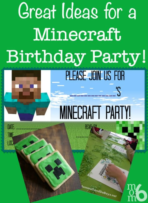 Fantastic ideas for hosting a Minecraft birthday party at home! This post includes free printable Minecraft party invitations, ideas for Minecraft party games and snacks, and Minecraft party thank you notes!