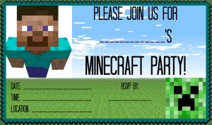 Minecraft Party Invite