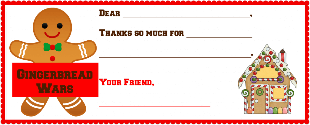 Alex's Gingerbread Wars Thank You Note