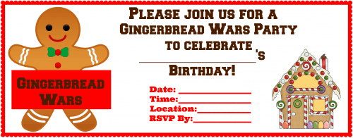 Gingerbread Wars Birthday Party- Blank Invite