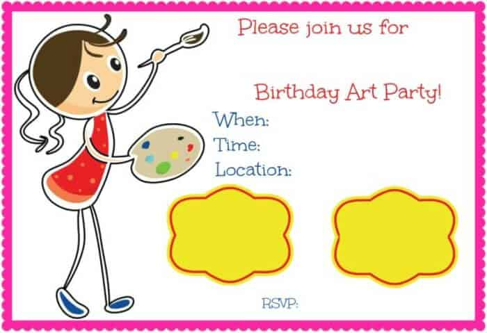 Art Birthday Party A Great Party Idea for 10 Year Old Girls MomOf6 – 10 Year Old Birthday Invitations