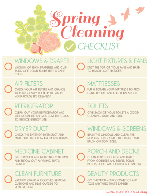 Spring Cleaning Checklist Going Home to Roost