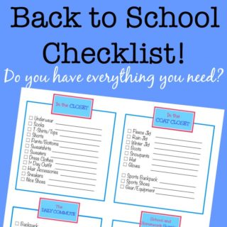 This back to school checklist will keep you on track to make sure you have all of the back to school supplies (clothes, coats, shoes, sports gear, as well as school supplies) you need to start the year off right!