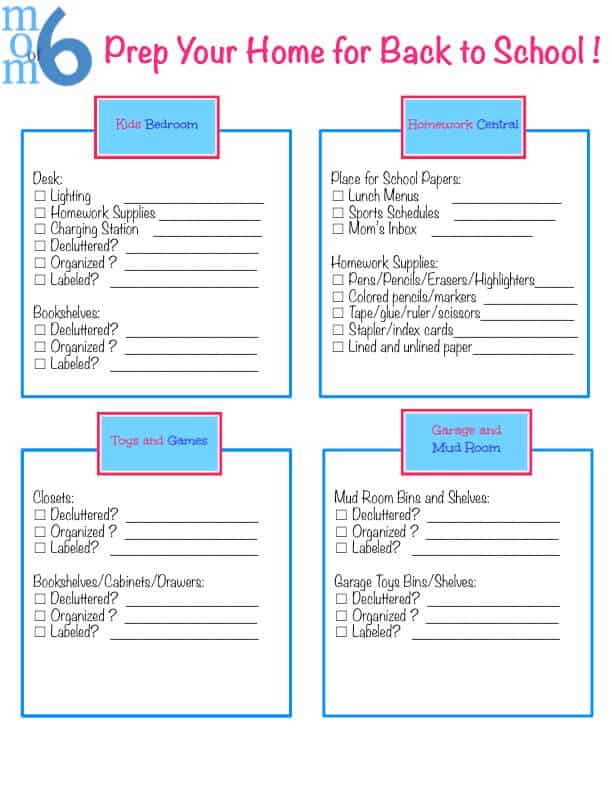Get Your Home Organized for Back to School! {Printable}