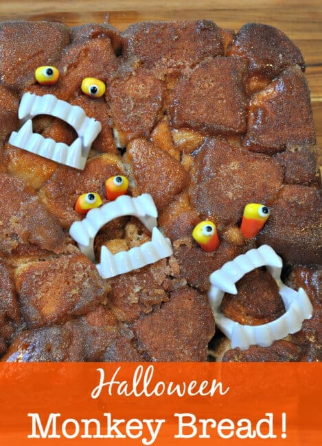 When my daughter asked me to bake some monkey bread, I decided to jazz it up a bit and give it a Halloween makeover! Here's my Halloween Monkey Bread!