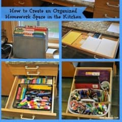 When the kids come home from school with their backpacks overflowing with paperwork- it's great if there is an organized homework space for them to unload it all, and a way to keep all of their supplies organized. Here's how I creates an organized homework space in the kitchen for my large family!