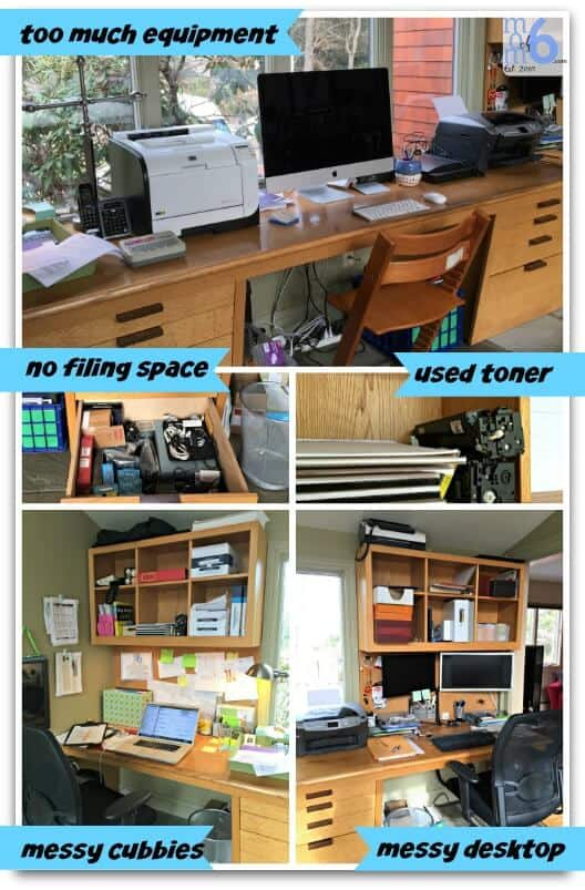 Home Office makeover before collage