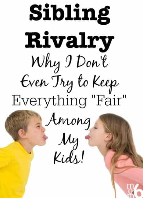 """The more we try to keep things """"fair"""" and balanced- the harder it is to maintain. Why? Because we are teaching our kids to expect it! And you are teaching them to make comparisons with one another and to expect things to be equal. Which leads to sibling rivalry. Here's why I don't even try to keep everything fair among my kids:"""