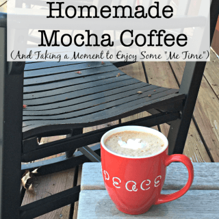 "After a busy morning, I love to find a few minutes to re-charge with a cup of my homemade mocha coffee! I take a deep breath, sip my yummy beverage, and look over the list of things that I would like to accomplish during the day. This is ""Me Time"". Time to relax, refocus, and get reinvigorated."