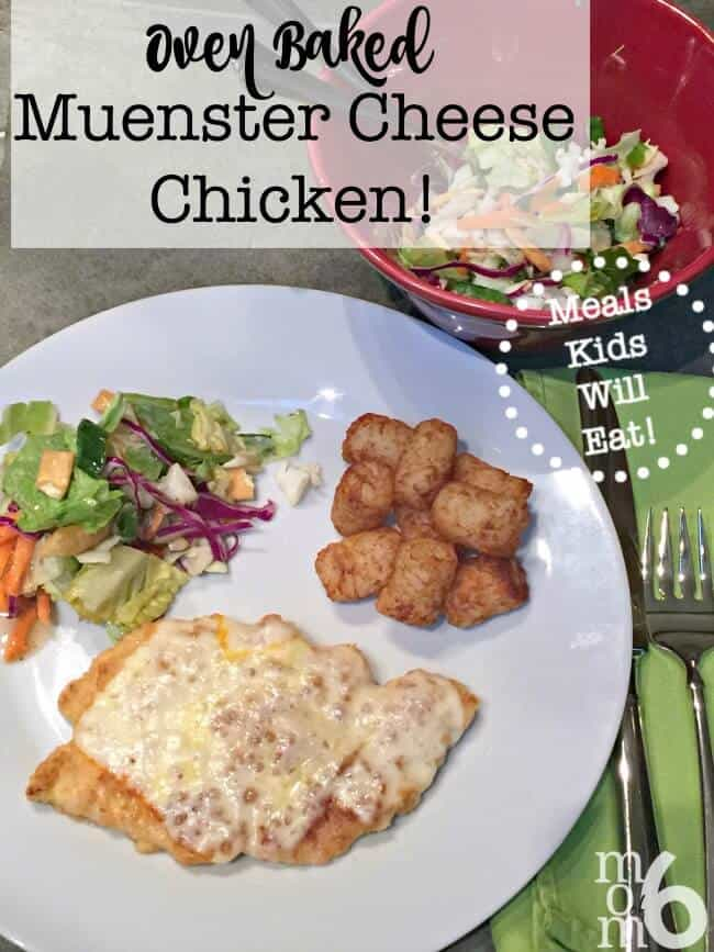 This recipe for oven baked muenster cheese chicken has been one of my family's favorite meals for a long time.... made with chicken coated in bread crumbs, browned lightly in butter and then baked with a layer of muenster cheese- it it simple enough to prepare for a weeknight meal, but special enough to command the center stage at Sunday dinner too!