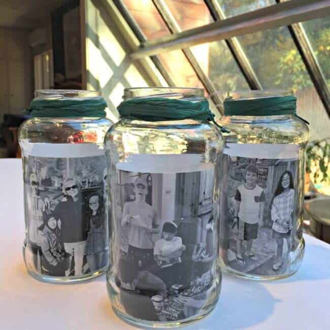 During the holiday season, I like to make our table look special, with a personal touch that celebrates my family. Which is why these mason jar photo centerpieces are the perfect addition to my holiday tablescape!