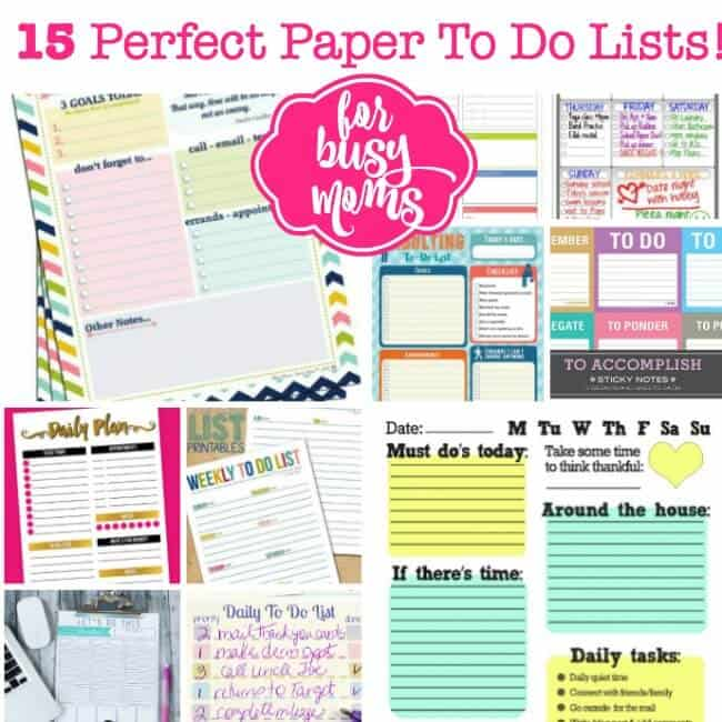 15 Perfect Paper To Do Lists for Busy Moms