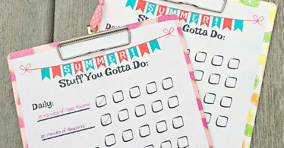 summer chore chart for teens and tweens