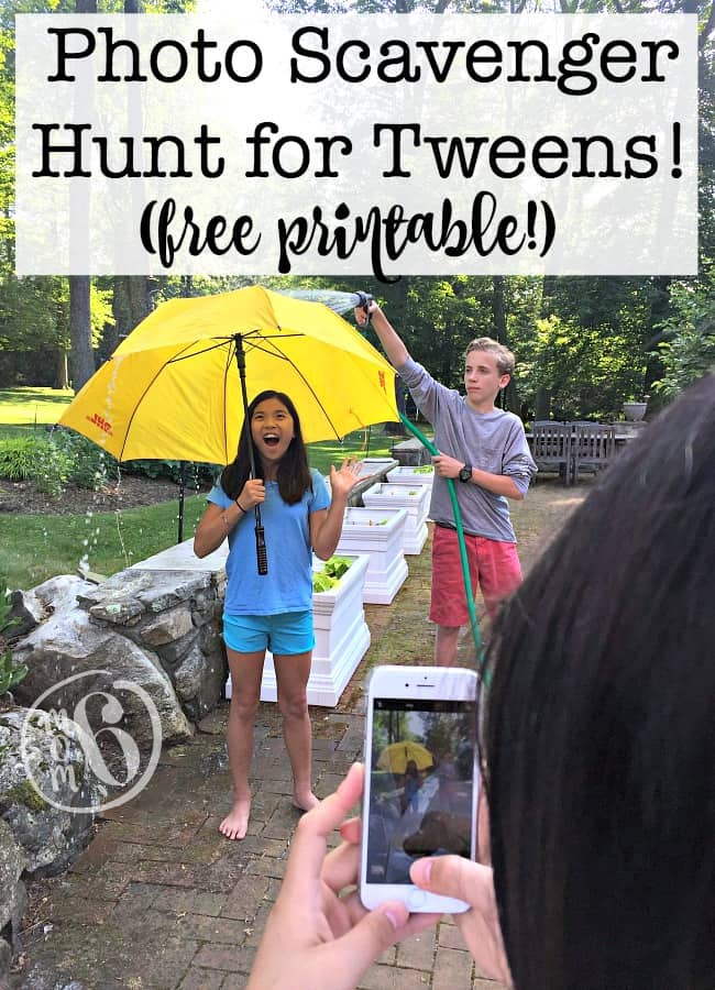 Are you looking for a fun party game for tweens that would be perfect at kids birthday parties? Here's a fun photo scavenger hunt for kids that is perfect for tweens and can take place in your own backyard or at a nearby park! My kids had such a blast doing this!