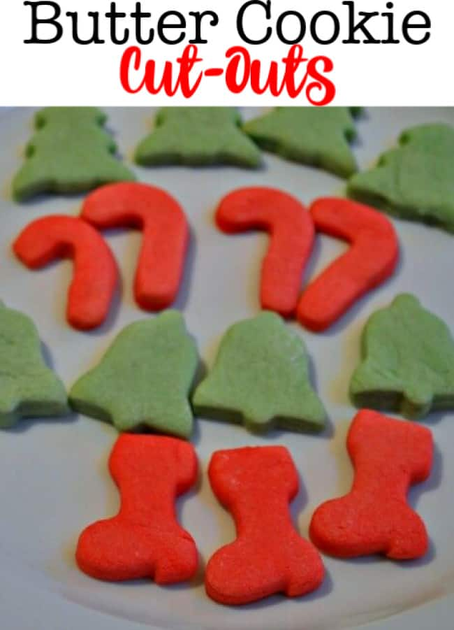 If you are a fan of a shortbread cookie- then you will love this soft chewy butter cookie cut outs recipe! To keep things simple, I color half of my dough with red food coloring and the other half with green food coloring- no icing or sprinkles needed! A perfect holiday cookie!