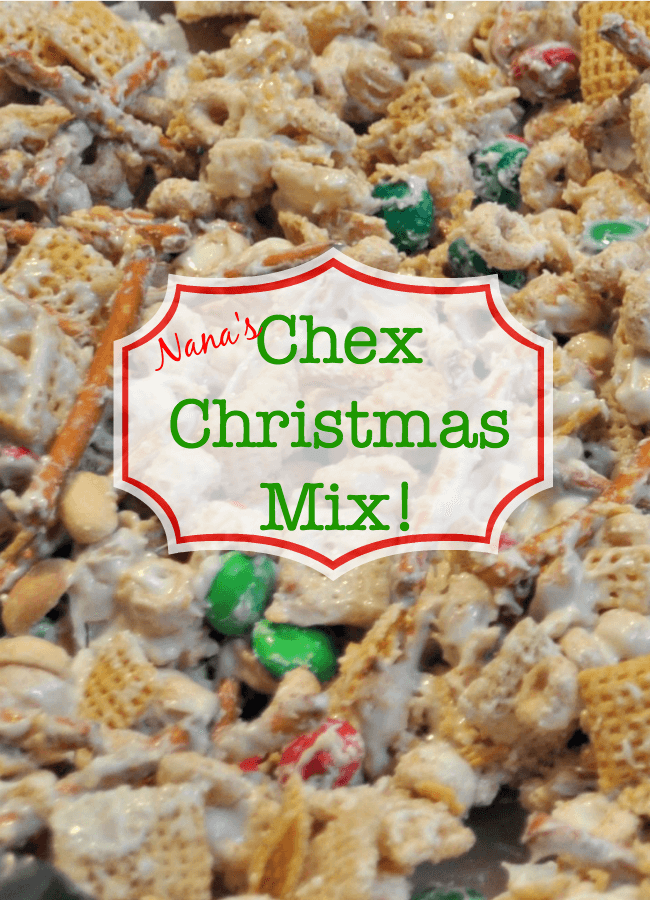 Every year my Mom makes this delicious concoction of white chocolate, Chex mix, pretzels, peanuts, and M&Ms- and it is totally addictive! This recipe for Nana's Chex Christmas Mix is very simple to make and is a great holiday treat!