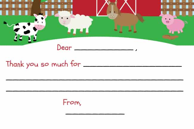 barnyard party thank you note