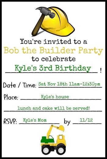 bob the builder invitation