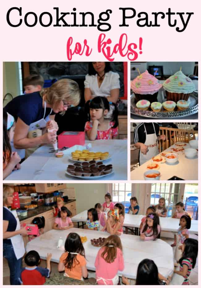 One of our favorite parties to throw- a cooking party for kids! Kids start by decorating chef's aprons, and the prepare mini pizzas and also decorate cupcakes for dessert! Ideas for invites, thank you cards, and party favors are all in this post!
