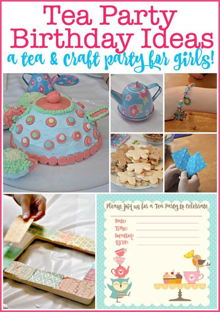 A Tea Party Birthday is a perfect party theme for 7-year-old girls! Here are some great tea party birthday ideas including tea party crafts, tea party activities, and a teapot cake and party snacks!