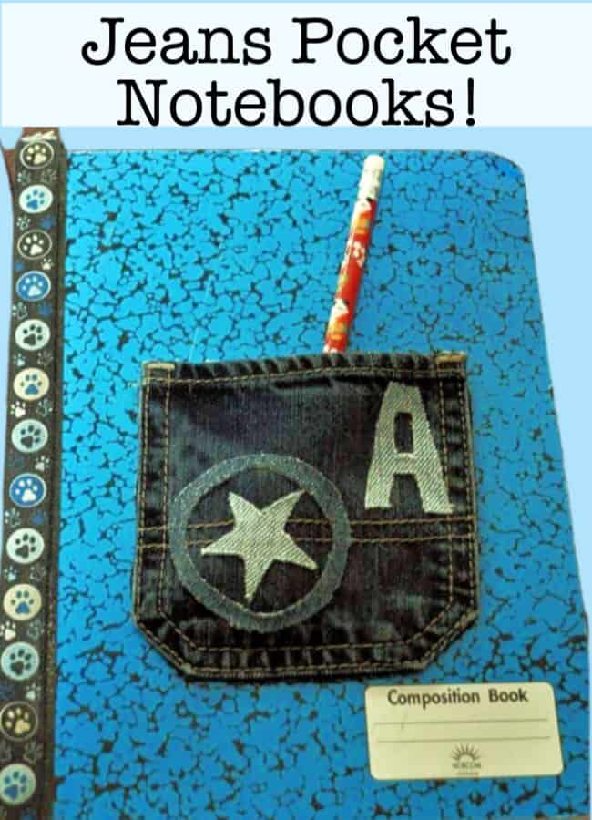 To make writing more fun this summer- we've created these cool jeans pocket notebooks that the kids can use as a journal. The jeans pocket can hold their pencils and pens- so all they need to do is to grab the notebook and head outside to write!