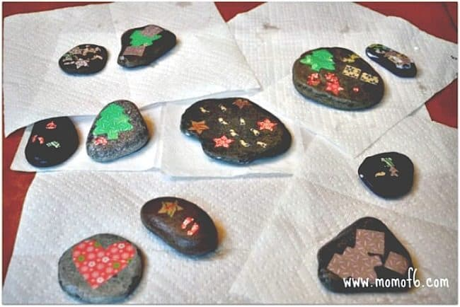 This stamped rocks and decoupage rocks project is a fun summer craft project to do with the kids! And a great thing to do if you happen to collect some beautiful smooth flat stones while on vacation!