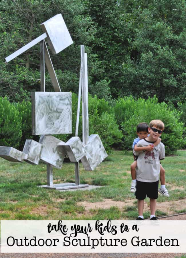 For a great way to introduce your kids to sculpture and art in a non-museum setting- visit an outdoor sculpture garden this summer!