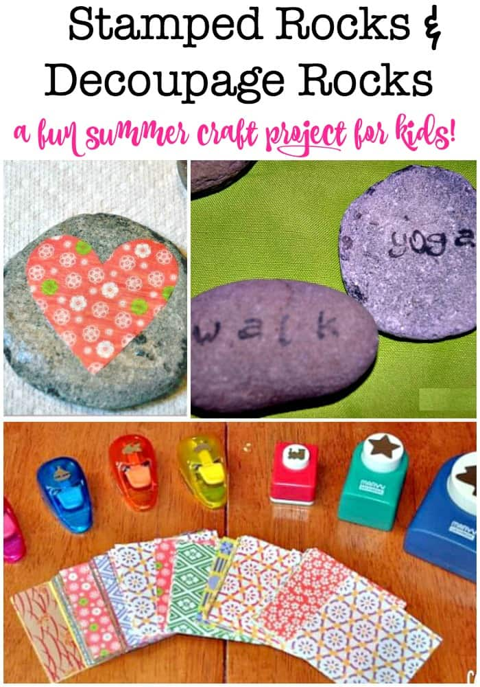 This stamped rocks and decoupage rocks project is a fun summer craft project to do with the kids! And a great thing to do if you happen to collect some beautiful smooth flat stones while on vacation! #StampedRocks #KidsCrafts #Decoupage #FunThingsToDo #Summer