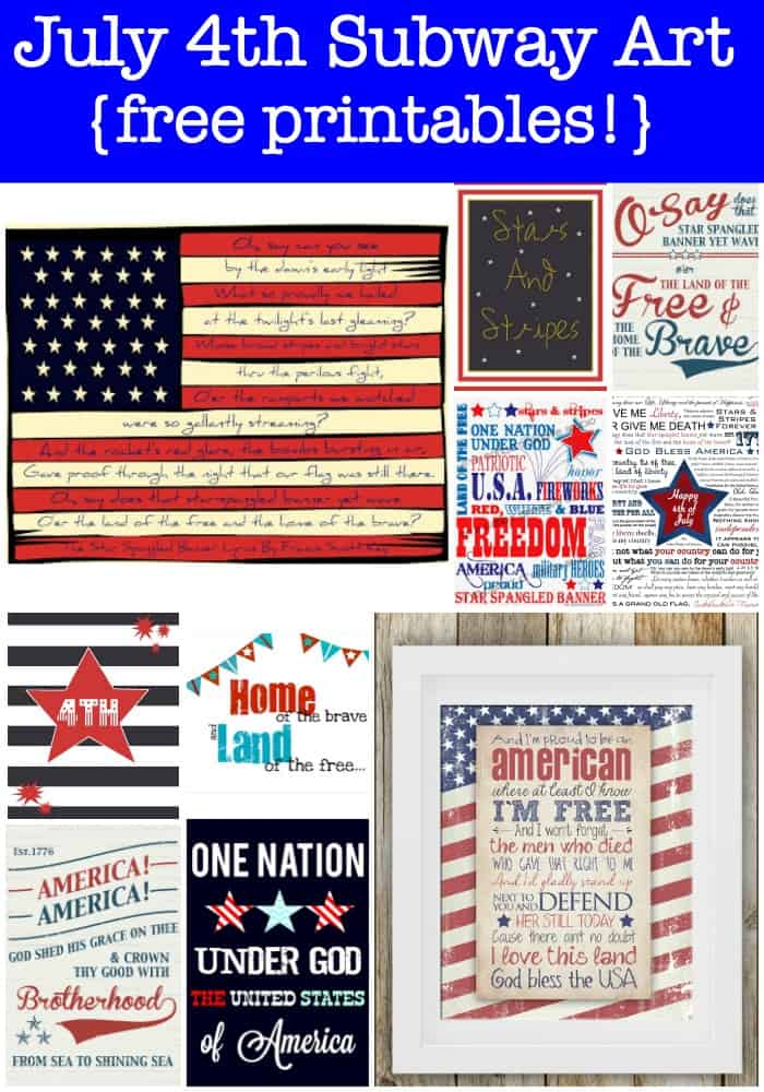 I love to decorate my home with items that celebrate an upcoming holiday- and one of the ways that I do that is with subway art! Here is a collection of July 4th Subway Art that you can download and print for free!