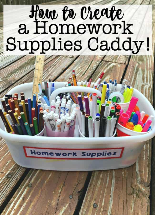 A homework caddy is a great tool to use to keep all of your kids' homework supplies in one place. And the best part? It's mobile- so you can tackle homework anywhere in the house and have everything you need right in front of you!