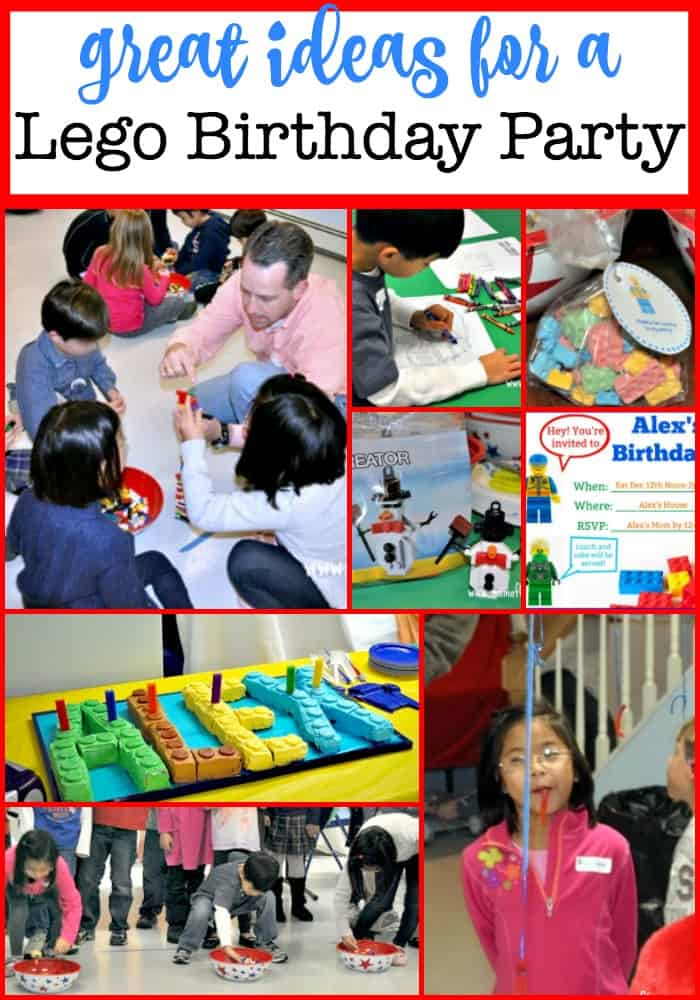 This post is packed with ideas on how to throw a fun Lego birthday party- complete with Lego games, Lego activities, Lego crafts, and Lego favors, and a homemade Lego birthday cake! #LegoBirthdayParty #LegoGames #LegoCrafts #LegoFavors #LegoCake