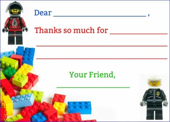 Lego party thank you note