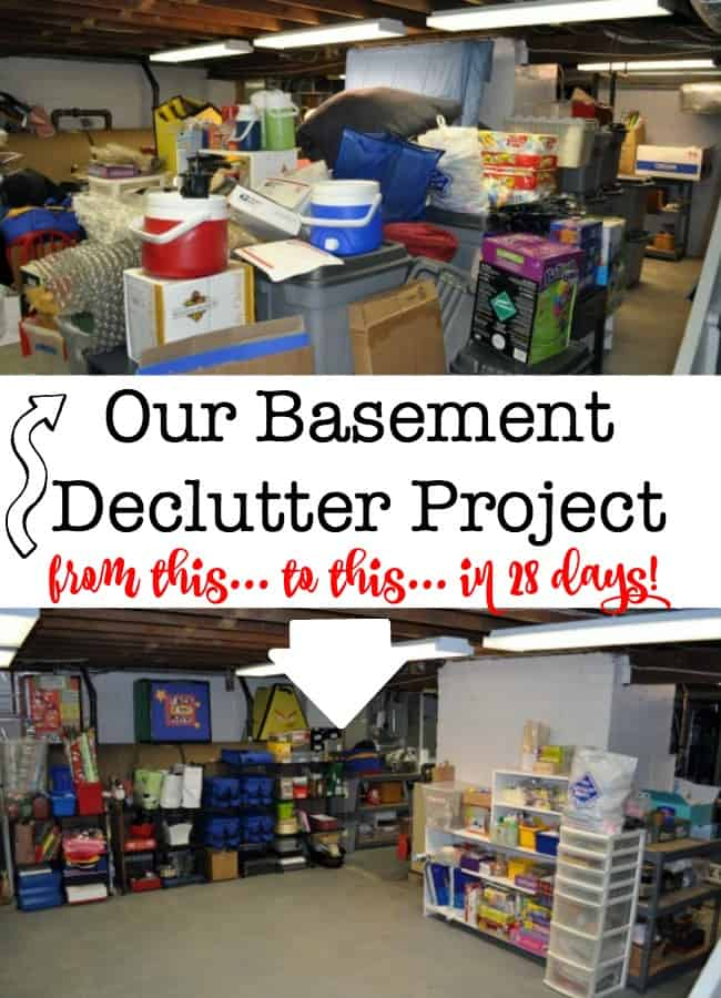 We tackled a basement declutter project in just four weeks! Here's how to declutter YOUR basement! (Great before & after pics & tips here!)