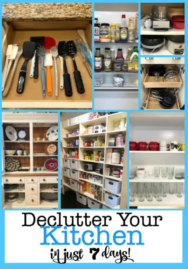 You really can declutter your kitchen in just 7 days! Here's the step by step game plan to an organized kitchen by spending just one hour a day for one week! #DeclutterYourKitchen #OrganizedKitchen #GetOrganized #Declutter