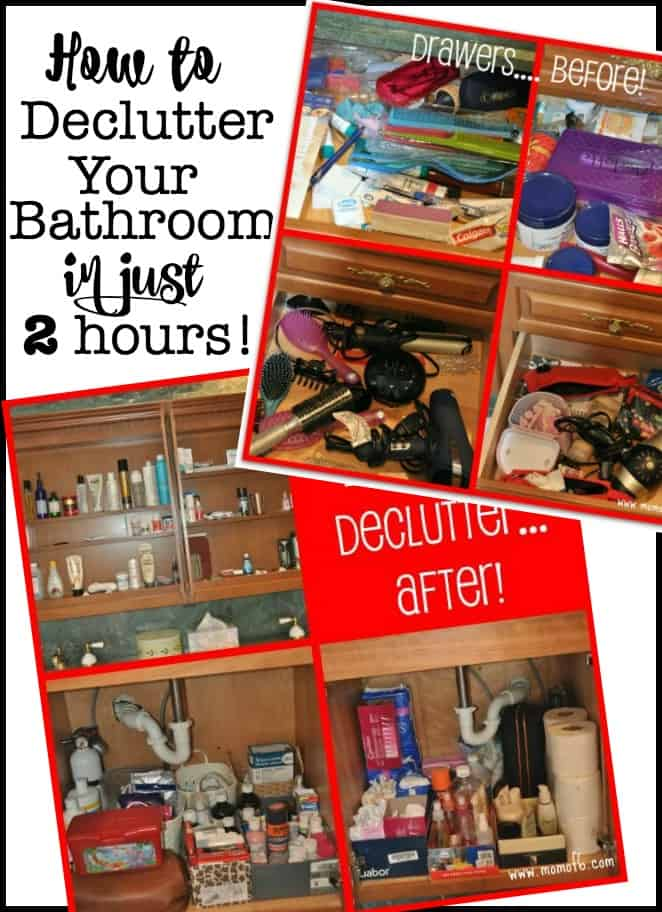 You know it's time to declutter your bathroom when you open up your bathroom cabinets and drawers, and you shudder that you've accumulated SO MUCH STUFF! You've gone from not even noticing it, to not being able to stand it. Here's how to declutter the bathroom in just two hours!