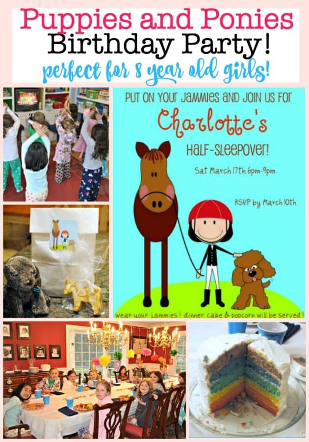 I like to pick a theme for my kids birthday parties that celebrates the things that they love the best! Which in the case of my daughter Charlotte, is puppies and ponies! Which is why we thought a Puppies and Ponies Party would be the perfect 8 year old girls birthday party idea!