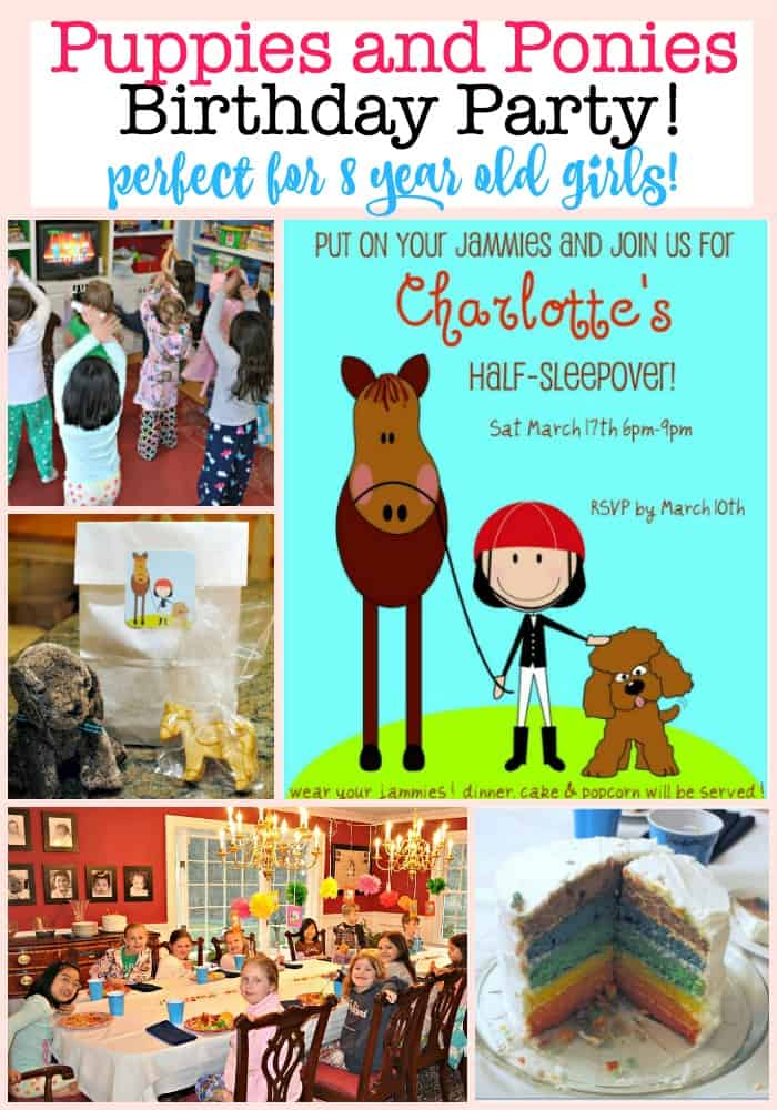 A perfect 8 year old girls birthday party idea is a Puppies and Ponies themed party- especially when done as a half-sleepover party! This post includes free printable party invitations, and ideas for party crafts and party activities! #KidsBirthdayParties #PartyThemes #GirlsBirthday #PartyCrafts #PartyActivities