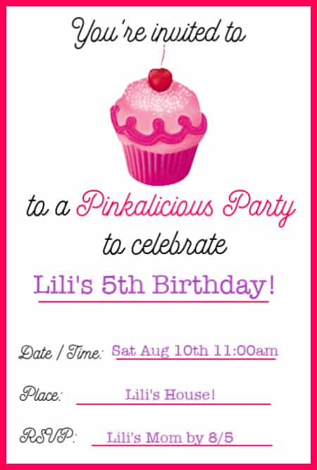 Pinkalicious party invitation