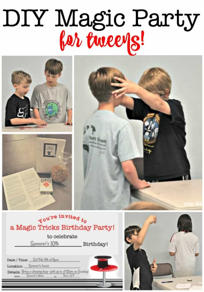What tween wouldn't love a magic party? We planned this fun birthday party idea for when my son turned 10- taught the group some fun magic tricks for kids, watched a magic-themed movie, and sent them home with a cool party favor! This post includes a free printable magic party invite and thank you note! #MagicParty #BirthdayParties #TweenBirthday #FreePrintables