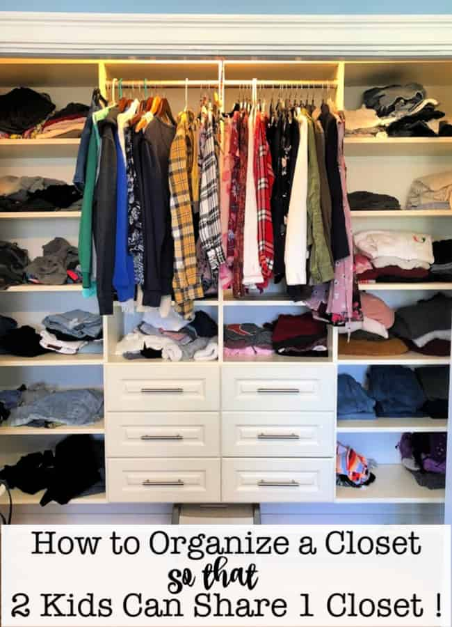 In a shared kids bedroom it is important to have an organized kids closet! In our home, everyone shares a room with a sibling, so it is important that we make the most of the storage space we have! Here's how to organize a kids closet so that 2 kids can share 1 closet!